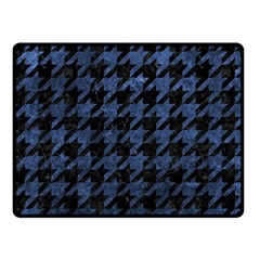 Houndstooth1 Black Marble & Blue Stone Fleece Blanket (small) by trendistuff