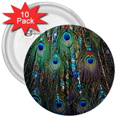 Peacock Jewelery 3  Buttons (10 Pack)  by Simbadda