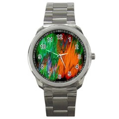 Watercolor Grunge Background Sport Metal Watch by Simbadda