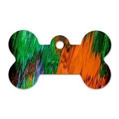 Watercolor Grunge Background Dog Tag Bone (two Sides) by Simbadda