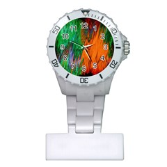Watercolor Grunge Background Plastic Nurses Watch by Simbadda