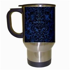 Damask2 Black Marble & Blue Stone (r) Travel Mug (white) by trendistuff