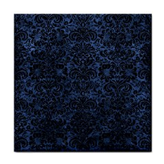Damask2 Black Marble & Blue Stone (r) Face Towel by trendistuff