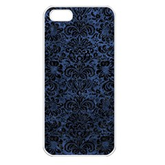 Damask2 Black Marble & Blue Stone (r) Apple Iphone 5 Seamless Case (white) by trendistuff