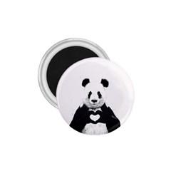 Panda Love Heart 1 75  Magnets by Onesevenart