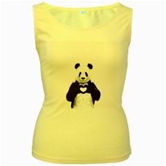Panda Love Heart Women s Yellow Tank Top by Onesevenart