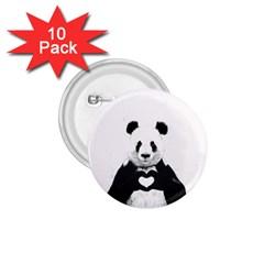 Panda Love Heart 1 75  Buttons (10 Pack) by Onesevenart