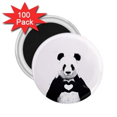 Panda Love Heart 2 25  Magnets (100 Pack)  by Onesevenart
