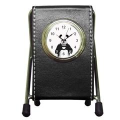 Panda Love Heart Pen Holder Desk Clocks by Onesevenart