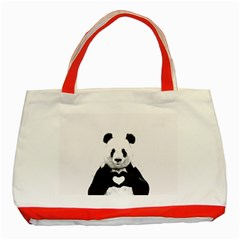 Panda Love Heart Classic Tote Bag (red) by Onesevenart