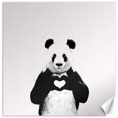 Panda Love Heart Canvas 12  X 12   by Onesevenart