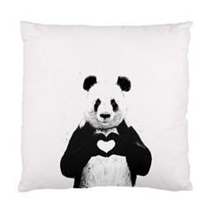 Panda Love Heart Standard Cushion Case (one Side) by Onesevenart