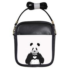 Panda Love Heart Girls Sling Bags by Onesevenart