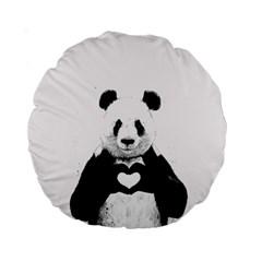 Panda Love Heart Standard 15  Premium Round Cushions by Onesevenart
