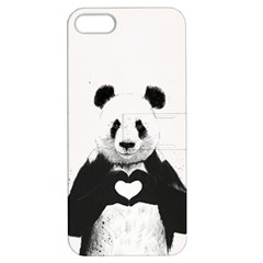 Panda Love Heart Apple Iphone 5 Hardshell Case With Stand by Onesevenart