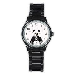 Panda Love Heart Stainless Steel Round Watch by Onesevenart