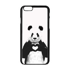 Panda Love Heart Apple Iphone 6/6s Black Enamel Case by Onesevenart