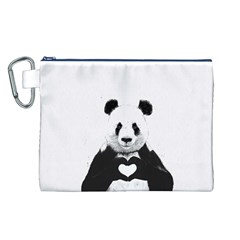 Panda Love Heart Canvas Cosmetic Bag (l) by Onesevenart