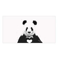 Panda Love Heart Satin Shawl by Onesevenart