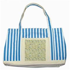 Vintage Hand Drawn Floral Background Striped Blue Tote Bag by TastefulDesigns