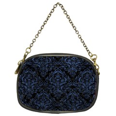 Damask1 Black Marble & Blue Stone Chain Purse (two Sides) by trendistuff