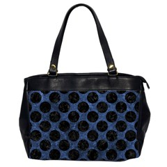 Circles2 Black Marble & Blue Stone (r) Oversize Office Handbag (2 Sides) by trendistuff