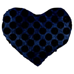 Circles2 Black Marble & Blue Stone (r) Large 19  Premium Flano Heart Shape Cushion by trendistuff