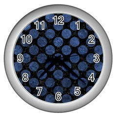 Circles2 Black Marble & Blue Stone Wall Clock (silver) by trendistuff