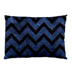 Chevron9 Black Marble & Blue Stone (r) Pillow Case by trendistuff