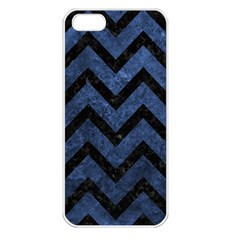 Chevron9 Black Marble & Blue Stone (r) Apple Iphone 5 Seamless Case (white) by trendistuff