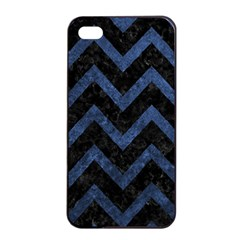 Chevron9 Black Marble & Blue Stone Apple Iphone 4/4s Seamless Case (black) by trendistuff