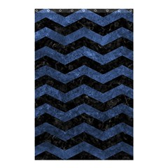 Chevron3 Black Marble & Blue Stone Shower Curtain 48  X 72  (small) by trendistuff