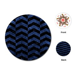 Chevron2 Black Marble & Blue Stone Playing Cards (round) by trendistuff