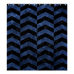 Chevron2 Black Marble & Blue Stone Shower Curtain 66  X 72  (large) by trendistuff