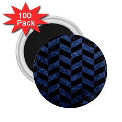 Chevron1 Black Marble & Blue Stone 2 25  Magnet (100 Pack)  by trendistuff