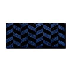 Chevron1 Black Marble & Blue Stone Hand Towel by trendistuff