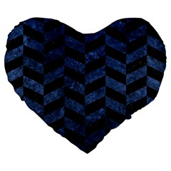 Chevron1 Black Marble & Blue Stone Large 19  Premium Flano Heart Shape Cushion by trendistuff