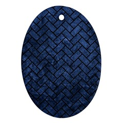 Brick2 Black Marble & Blue Stone (r) Ornament (oval) by trendistuff