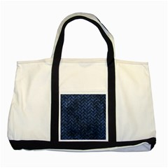 Brick2 Black Marble & Blue Stone (r) Two Tone Tote Bag by trendistuff