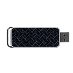 Brick2 Black Marble & Blue Stone Portable Usb Flash (two Sides) by trendistuff