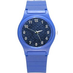 Brick1 Black Marble & Blue Stone (r) Round Plastic Sport Watch (s) by trendistuff
