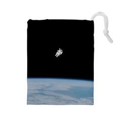 Amazing Stunning Astronaut Amazed Drawstring Pouches (large)  by Simbadda
