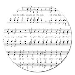 Jingle Bells Song Christmas Carol Magnet 5  (round) by Simbadda
