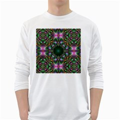 Digital Kaleidoscope White Long Sleeve T Shirts by Simbadda