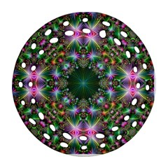 Digital Kaleidoscope Round Filigree Ornament (two Sides) by Simbadda