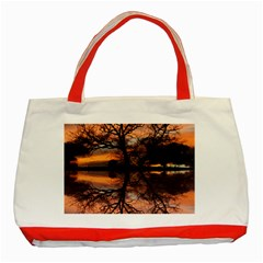 Aurora Sunset Sun Landscape Classic Tote Bag (red) by Simbadda