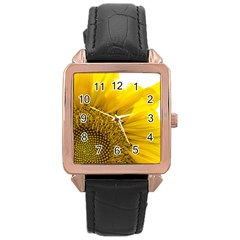 Plant Nature Leaf Flower Season Rose Gold Leather Watch  by Simbadda
