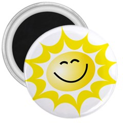 The Sun A Smile The Rays Yellow 3  Magnets by Simbadda