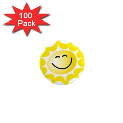 The Sun A Smile The Rays Yellow 1  Mini Magnets (100 Pack)  by Simbadda