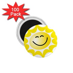 The Sun A Smile The Rays Yellow 1 75  Magnets (100 Pack)  by Simbadda